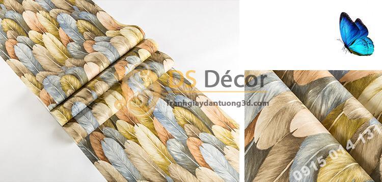 Bề mặt Giấy dán tường lông vũ 3D264 màu lam nhạt