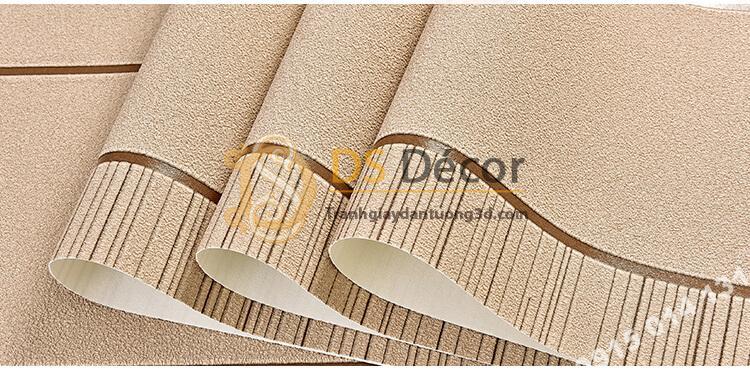 Bề mặt Giấy dán tường sọc ngang hiện đại 3D272 màu cafe