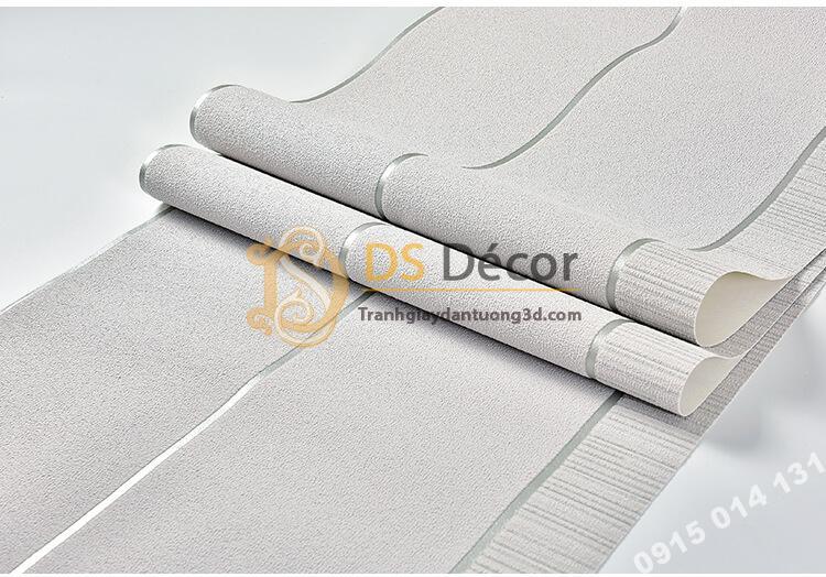 Bề mặt Giấy dán tường sọc ngang hiện đại 3D272 màu xám bạc