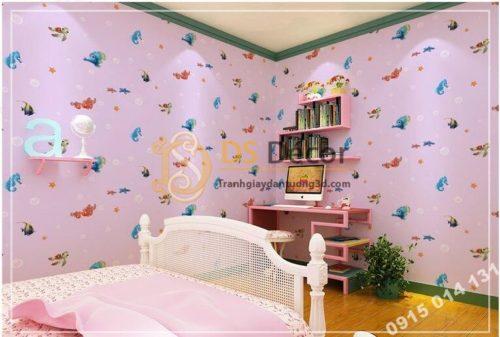 Giấy dán tường cá biển phòng trẻ em 3D269 màu hồng