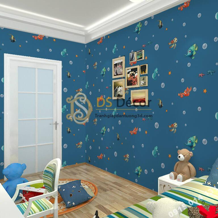 Giấy dán tường cá biển phòng trẻ em 3D269 màu xanh đậm