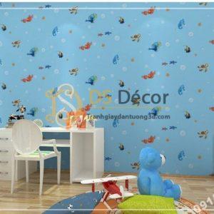 Giấy dán tường cá biển phòng trẻ em 3D269 màu xanh nhạt