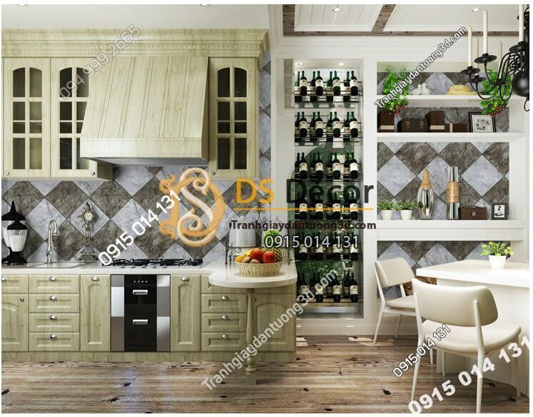 Giấy dán tường gạch caro 3D268 màu xám đất phòng ăn