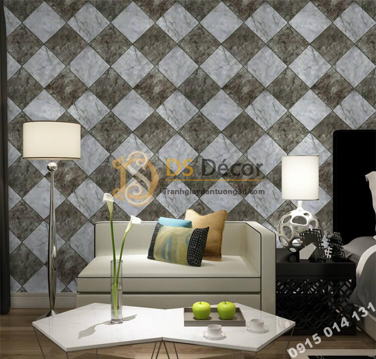 Giấy dán tường gạch caro 3D268 màu xám đất