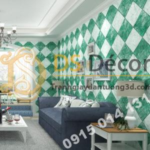 Giấy dán tường gạch caro 3D268 màu xanh
