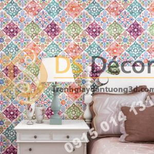 Giấy dán tường giả gạch bông kiểu bohemiang 3D267 màu hồng cho phòng ngủ