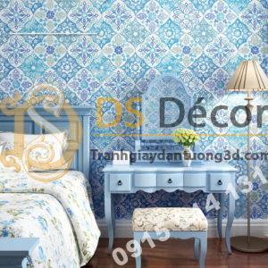 Giấy dán tường giả gạch bông kiểu bohemiang 3D267 màu xanh cho phòng ngủ