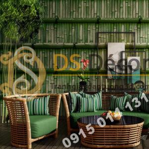 Giấy dán tường giả tường tre xưa 3D266 màu xanh lá cây
