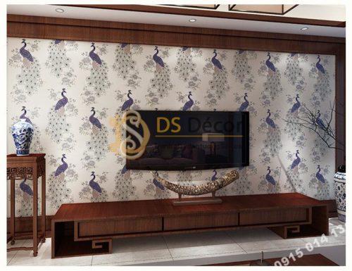 Giấy dán tường họa tiết chim công xanh 3D265 trang trí phòng khách