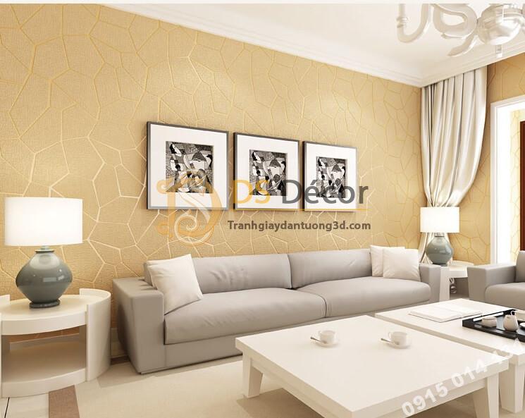 Giấy dán tường họa tiết vế nứt 3D274 màu be dán phòng khách