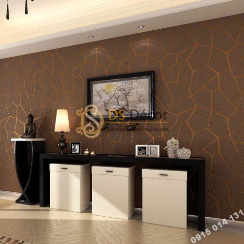 Giấy dán tường họa tiết vế nứt 3D274 màu nâu dán phòng khách