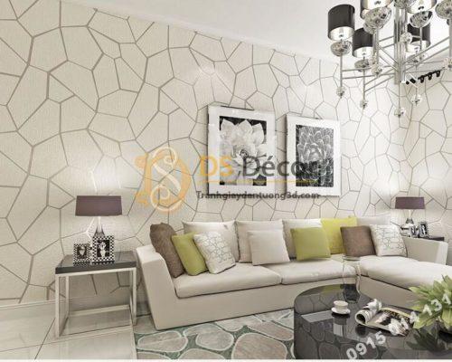 Giấy dán tường họa tiết vế nứt 3D274 màu trắng dán phòng khách