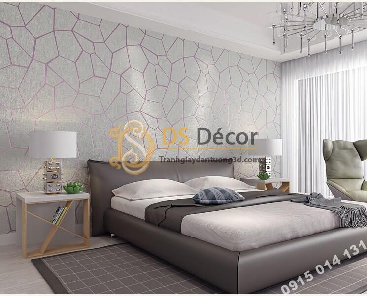Giấy dán tường họa tiết vế nứt 3D274 màu xám dán phòng ngủ