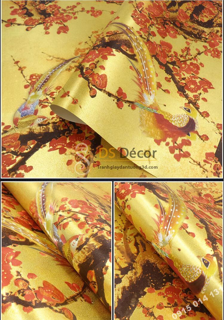 Giấy dán tường hoa đào đỏ chào tết đến xuân về 3D263 màu nhạt
