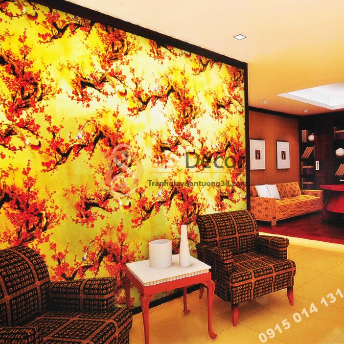 Giấy dán tường hoa đào đỏ chào tết đến xuân về 3D263