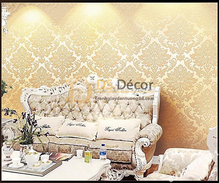 Giấy dán tường hoa châu âu cổ điển 3D273 màu be dán phòng khách