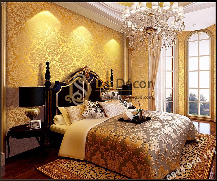 Giấy dán tường hoa châu âu cổ điển 3D273 màu vàng dán phòng ngủ
