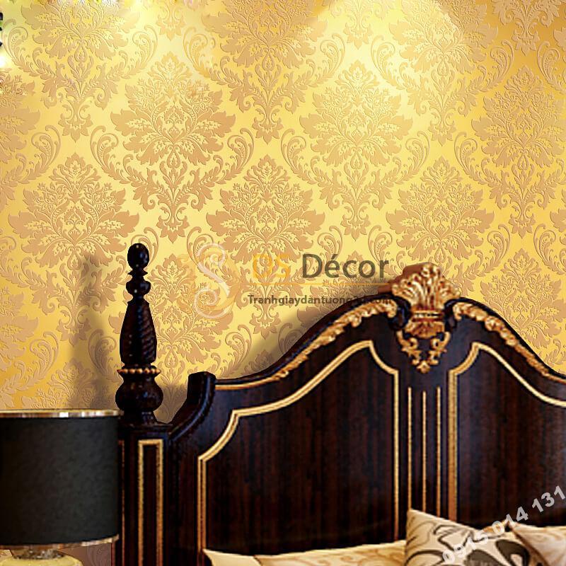 Giấy dán tường hoa châu âu cổ điển 3D273 màu vàng