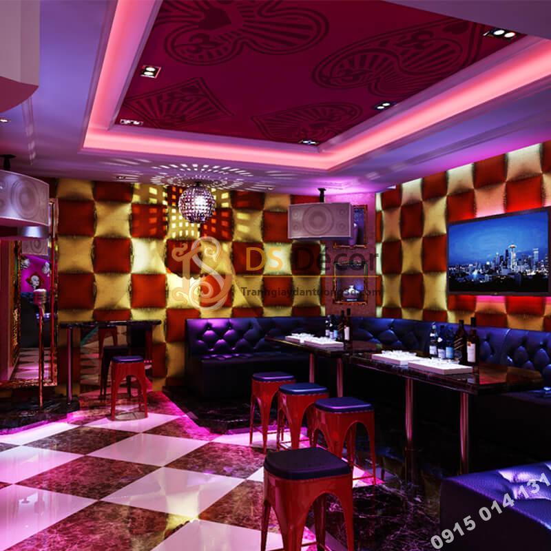 Giấy dán tường karaoke caro ô vuông lồi 3D271 màu đỏ