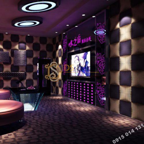 Giấy dán tường karaoke caro ô vuông lồi 3D271 màu tím