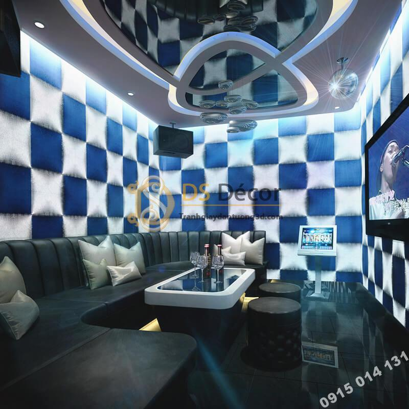 Giấy dán tường karaoke caro ô vuông lồi 3D271 màu xanh trắng