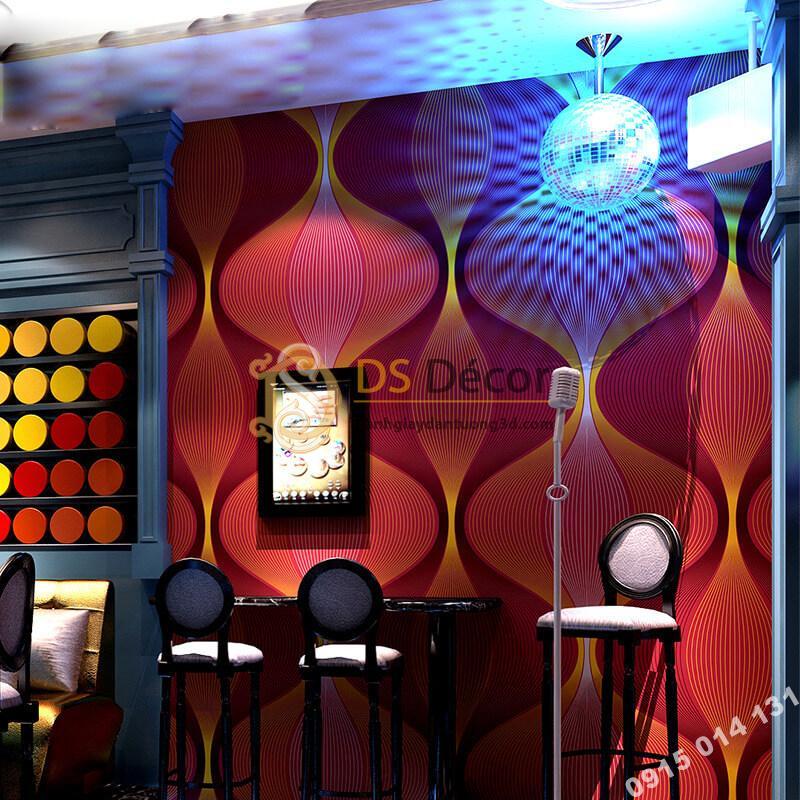 Giấy dán tường karaoke lượn sóng 3D270 màu đỏ