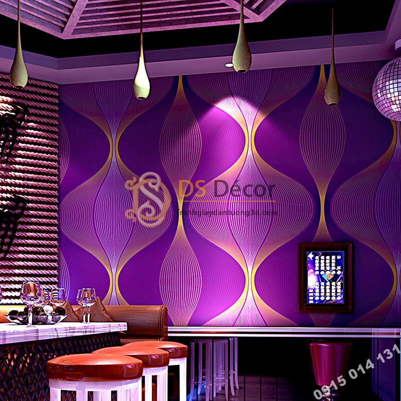 Giấy dán tường karaoke lượn sóng 3D270 màu tím