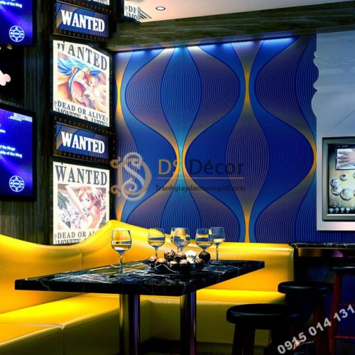 Giấy dán tường karaoke lượn sóng 3D270 màu xanh