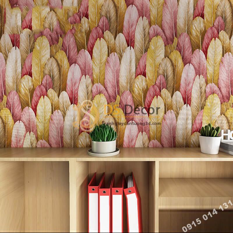 Giấy dán tường lông vũ 3D264 màu hồng