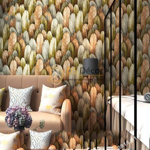 Giấy dán tường lông vũ 3D264 màu lam nhạt