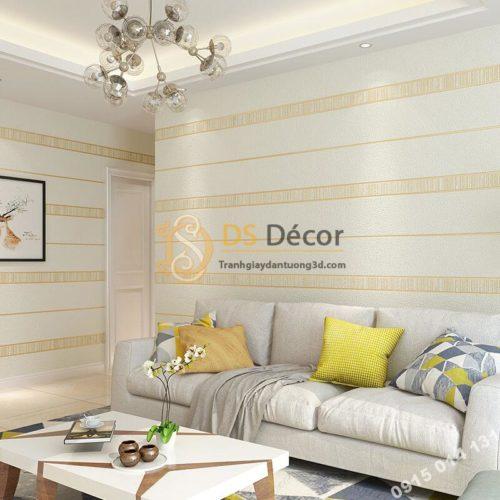 Giấy dán tường sọc ngang hiện đại 3D272 màu trắng