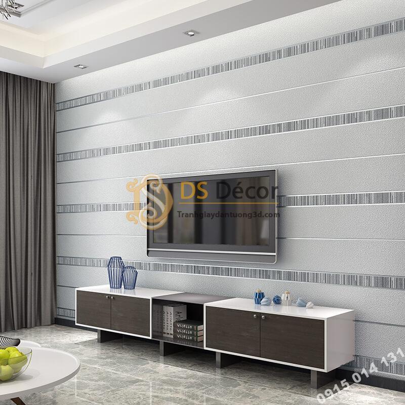Giấy dán tường sọc ngang hiện đại 3D272 màu xám bạc