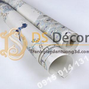 bề mặt Giấy dán tường họa tiết chim công xanh 3D265