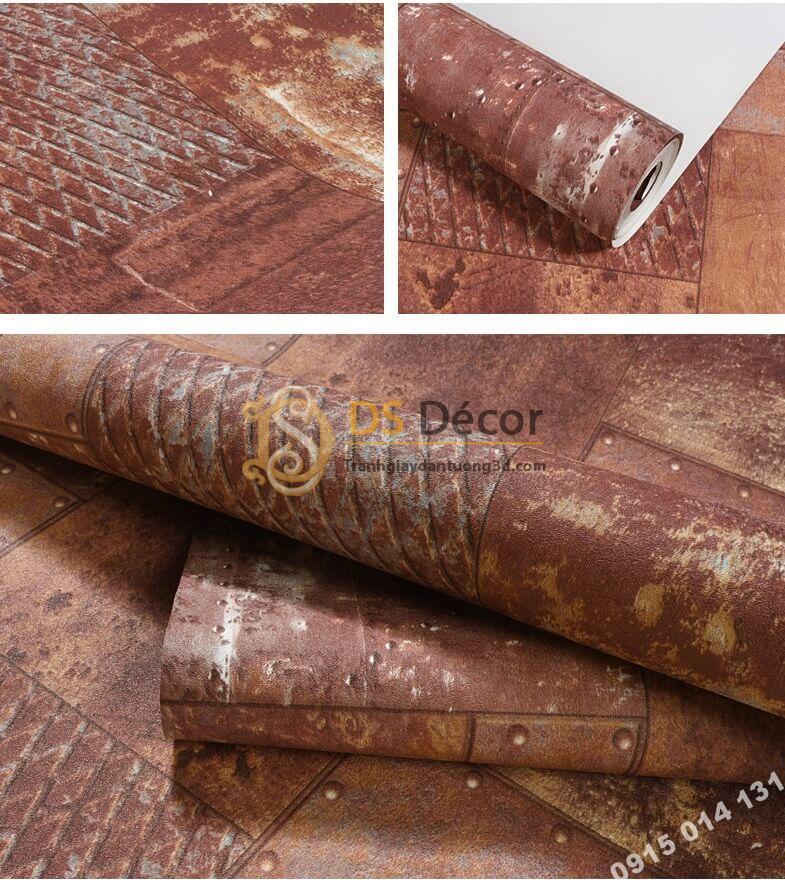 Bề mặt Giấy dán tường giả tường sắt han rỉ 3D277 màu nâu đỏ