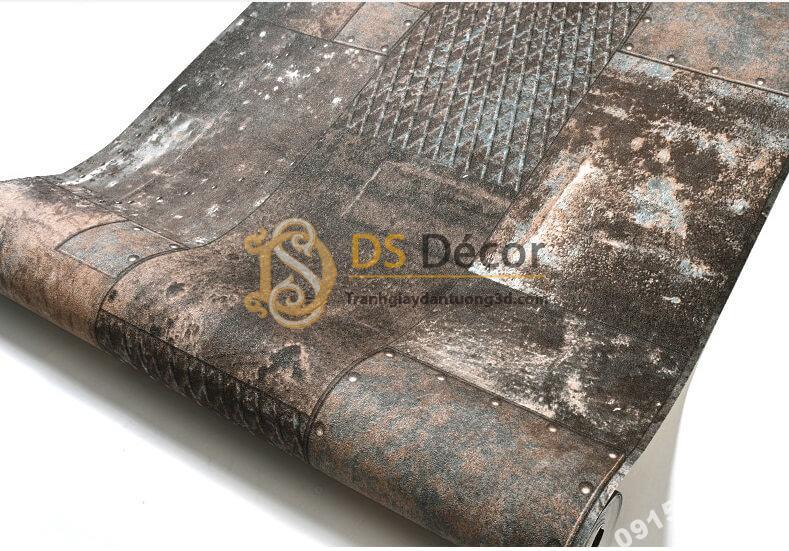 Bề mặt Giấy dán tường giả tường sắt han rỉ 3D277 màu xám
