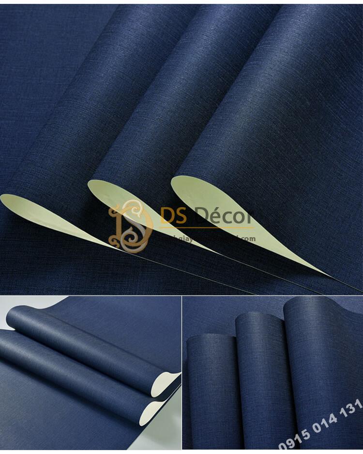 Bề mặt Giấy dán tường một màu giả vải 3D281 màu xanh dương đậm
