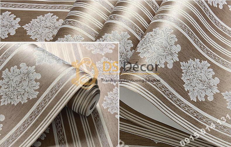 Bề mặt Giấy dán tường sọc dọc cổ điển sang trọng 3D276 màu nâu