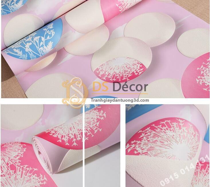 Bề mặt giấy dán tường họa tiết bóng bay 3D278 màu hồng