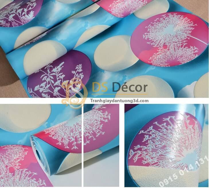 Bề mặt giấy dán tường họa tiết bóng bay 3D278 màu xanh