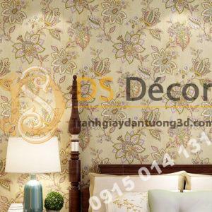 Giấy dán tường cổ điển hoa mộc mạc 3D279 màu nâu