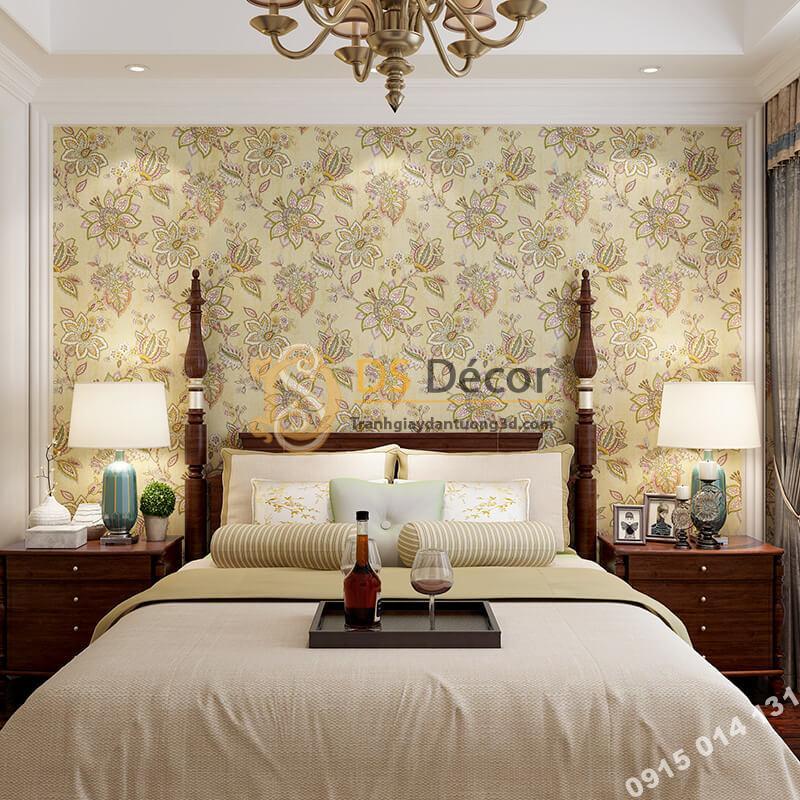 Giấy dán tường cổ điển hoa mộc mạc 3D279 màu nâu phòng ngủ