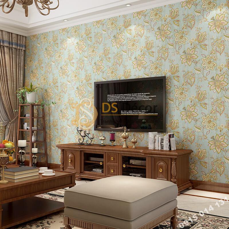 Giấy dán tường cổ điển hoa mộc mạc 3D279 màu xanh
