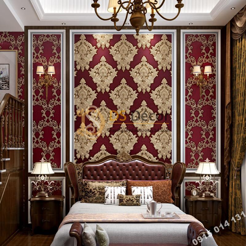 Giấy dán tường châu âu dập nổi Damascus 3D282 màu đỏ phòng ngủ