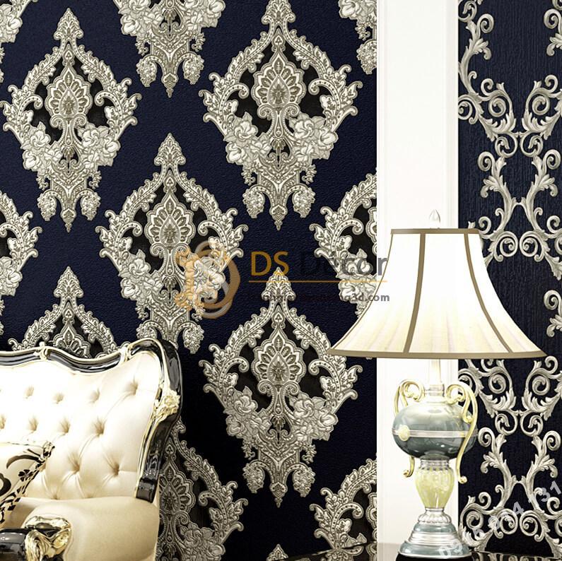 Giấy dán tường châu âu dập nổi Damascus 3D282 màu đen phòng khách