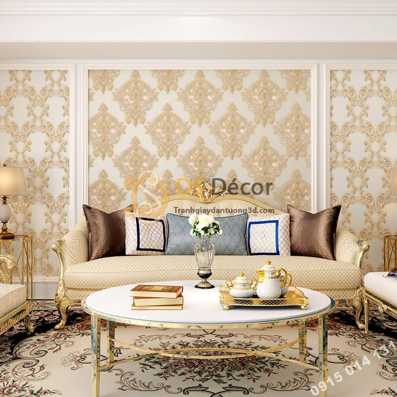 Giấy dán tường châu âu dập nổi Damascus 3D282 màu be phòng khách