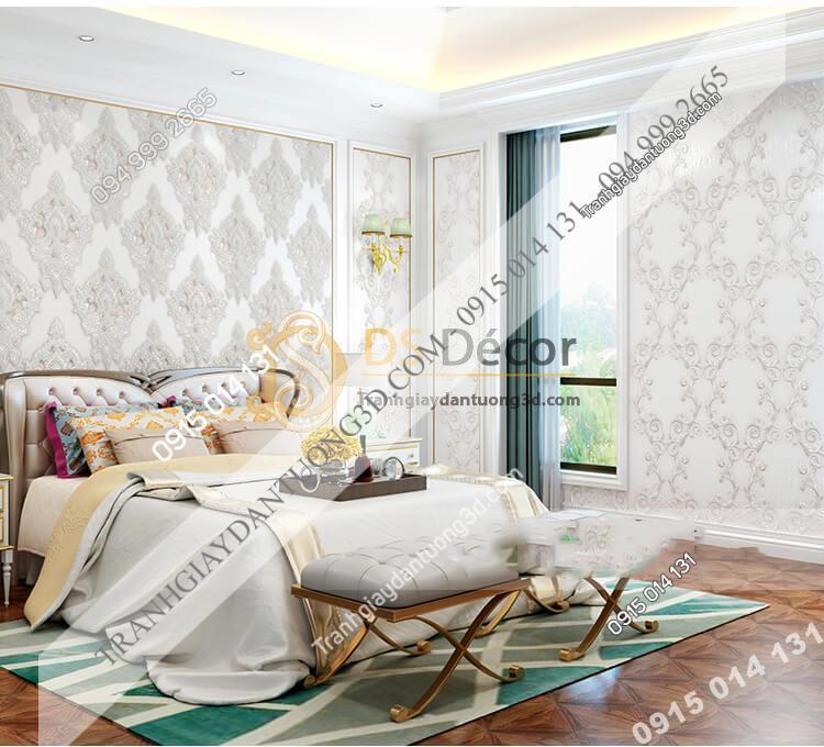 Giấy dán tường châu âu dập nổi Damascus 3D282 màu trắng phòng ngủ