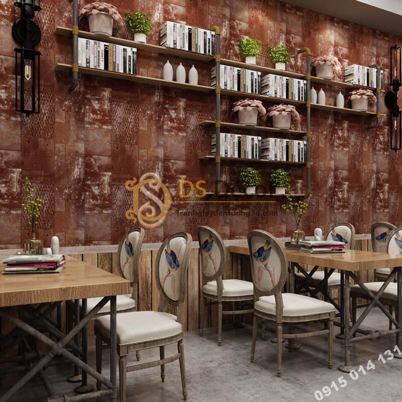 Giấy dán tường giả tường sắt han rỉ 3D277 màu nâu đỏ quán ăn