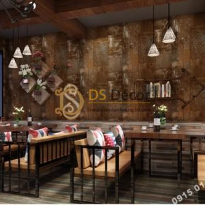 Giấy dán tường giả tường sắt han rỉ 3D277 màu nâu cafe quán ăn