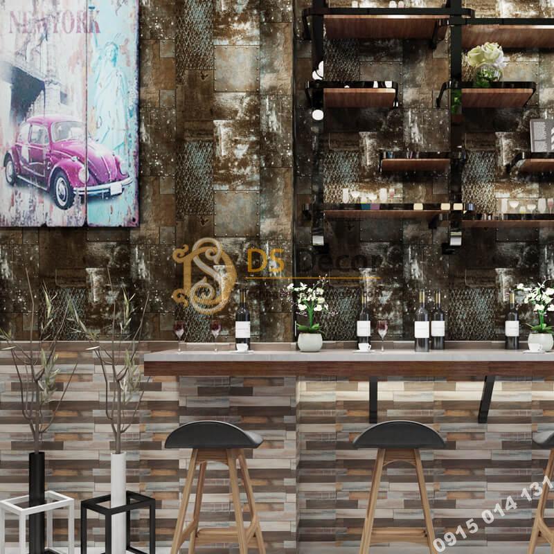 Giấy dán tường giả tường sắt han rỉ 3D277 màu xám quán ăn