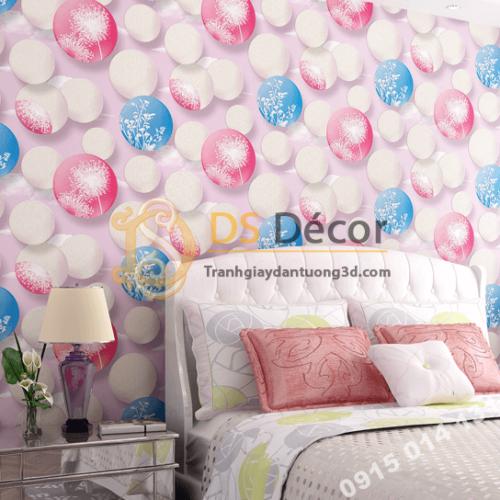 Giấy dán tường họa tiết bóng bay 3D278 màu hồng phòng ngủ